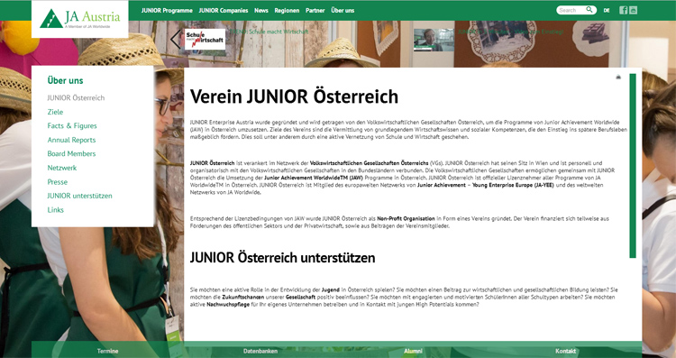 Screenshot Website Junior Company